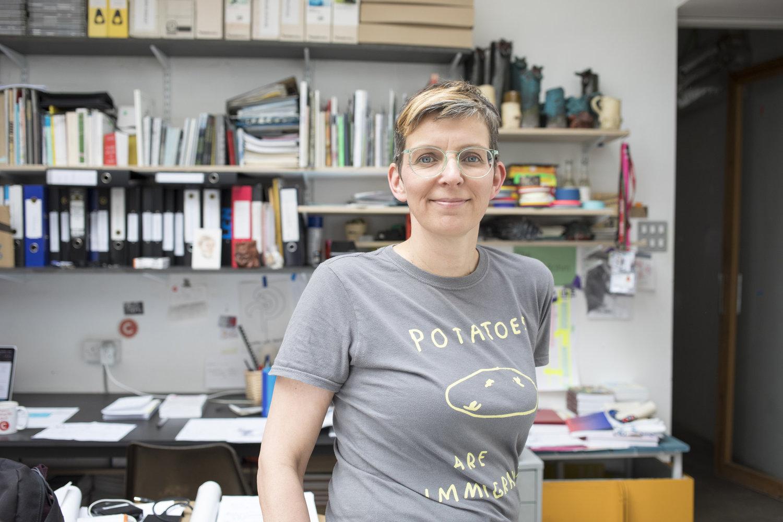 Kathrin Böhm in her studio in Hackney. April 2019